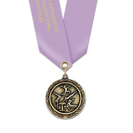 MX Gymnastics, Cheer & Dance Award Medal w/ Satin Neck Ribbon