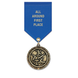 MX Gymnastics, Cheer & Dance Award Medal w/ Satin Drape Ribbon