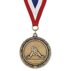 LX Gymnastics, Cheer & Dance Award Medal w/ Red/White/Blue or Year Grosgrain Neck Ribbon