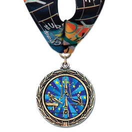 LXC Color Fill Gymnastics, Cheer & Dance Award Medal w/ Millennium Neck Ribbon