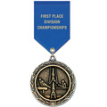 LX Gymnastics, Cheer & Dance Award Medal w/ Satin Drape Ribbon