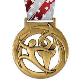 Atlas Stock Gymnastics, Cheer & Dance Award Medal w/ Millennium Liberty Neck Ribbon