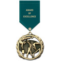 ES Gymnastics, Cheer & Dance Award Medal w/ Satin Drape Ribbon