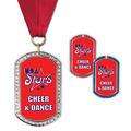 GEM Tag Gymnastics, Cheer & Dance Award Medal w/ Grosgrain Neck Ribbon