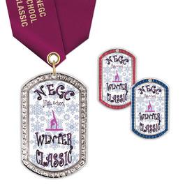 GEM Tag Gymnastics, Cheer & Dance Award Medal w/ Satin Neck Ribbon