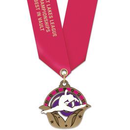 Superstar Gymnastics Award Medal w/ Satin Neck Ribbon