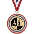 RWB GEM Gymnastics, Cheer & Dance Award Medal w/ Red/White/Blue or Year Grosgrain Neck Ribbon