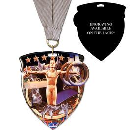 CSM Shield Gymnastics, Cheer & Dance Award Medal w/ Grosgrain Neck Ribbon - ENGRAVED