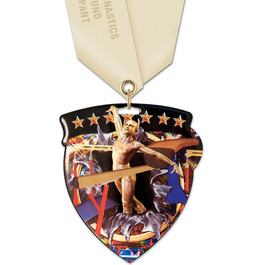 CSM Shield Gymnastics, Cheer & Dance Award Medal w/ Satin Neck Ribbon