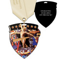 CSM Shield Gymnastics, Cheer & Dance Award Medal w/ Satin Neck Ribbon - ENGRAVED