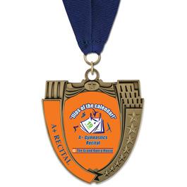 MS14 Mega Shield Gymnastics, Cheer & Dance Award Medal w/ Grosgrain Neck Ribbon