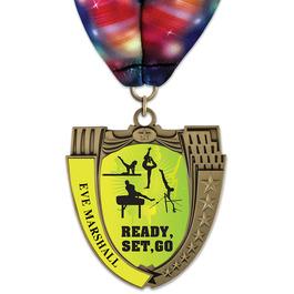 MS14 Mega Shield Gymnastics, Cheer & Dance Award Medal w/ Millennium Neck Ribbon