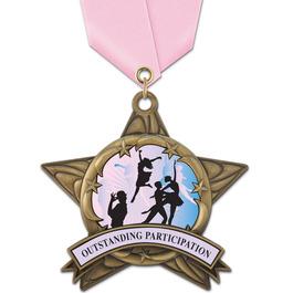 AS14 All Star Gymnastics, Cheer & Dance Award Medal w/ Satin Neck Ribbon