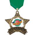 AS All Star Full Color Gymnastics Award Medal w/ Satin Neck Ribbon