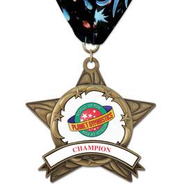 AS14 All Star Gymnastics, Cheer & Dance Award Medal w/ Millennium Neck Ribbon