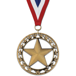 Rising Star Gymnastics, Cheer & Dance Award Medal with Red/White/Blue or Year Grosgrain Neck Ribbon