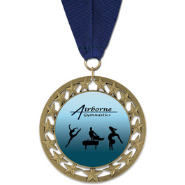 RS14 Gymnastics, Cheer & Dance Award Medal with Grosgrain Neck Ribbon