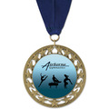 RS14 Full Color Gymnastics, Cheer & Dance Award Medal with Grosgrain Neck Ribbon