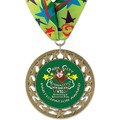 RS14 Full Color Gymnastics, Cheer & Dance Award Medal with Millennium Neck Ribbon