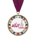 RSG Full Color Gymnastics, Cheer & Dance Award Medal with Grosgrain Neck Ribbon