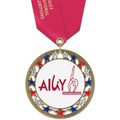RSG Full Color Gymnastics, Cheer & Dance Award Medal with Satin Neck Ribbon