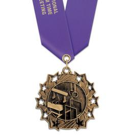 Ten Star Gymnastics, Cheer & Dance Award Medal with Satin Neck Ribbon