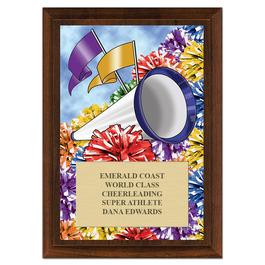 Cheer Pom Poms Award Plaque - Cherry Finish