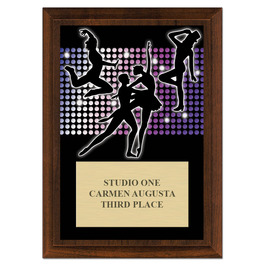 Dance Styles Award Plaque - Cherry Finish