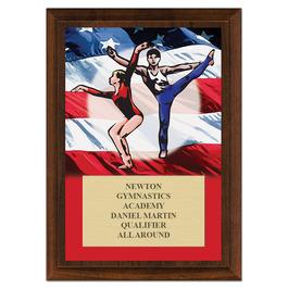 Gym Flag Award Plaque - Cherry Finish