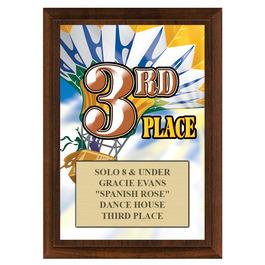 Third Place Gymnastics, Cheer & Dance Award Plaque - Cherry Finish