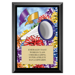 Cheer Pom Poms Award Plaque - Black