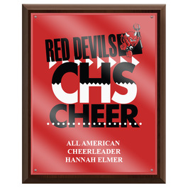 Full Color Gymnastics, Cheer & Dance Award Plaque - Cherry Finish w/ Acrylic Overlay
