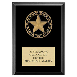 Rising Star Medal Gymnastics, Cheer & Dance Award Plaque - Black Finish