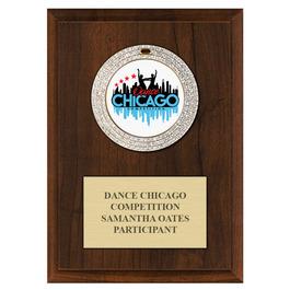 GEM Medal Gymnastics, Cheer & Dance Award Plaque - Cherry Finish