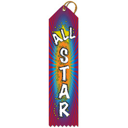 Stock All Star Multicolor Point Top Gymnastics, Cheer & Dance Award Ribbon