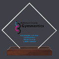 Diamond Acrylic Gymnastics, Cheer & Dance Award Trophy w/ Walnut Base