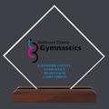 Diamond Acrylic Gymnastics, Cheer & Dance Award Trophy w/ Walnut Base