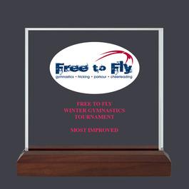Square Acrylic Gymnastics, Cheer & Dance Award Trophy w/ Walnut Base