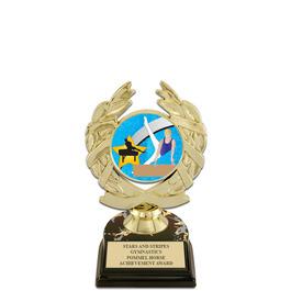 "5-1/2"" Black HS Base Gymnastics, Cheer & Dance Award Trophy w/ Insert Top"