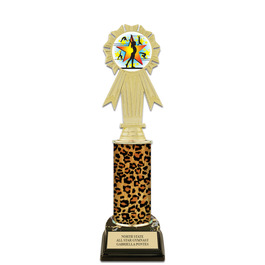 "10"" Black HS Base Gymnastics, Cheer & Dance Award Trophy w/ Insert Top"