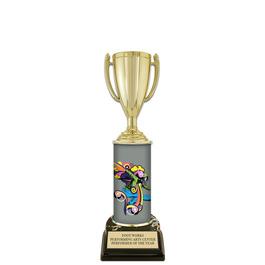 "10"" Black HS Base Gymnastics, Cheer & Dance Award Trophy w/ Custom Column"