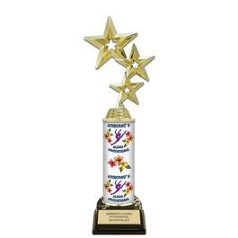 """11"""" Black HS Base Gymnastics Trophy w/ Custom Column"""