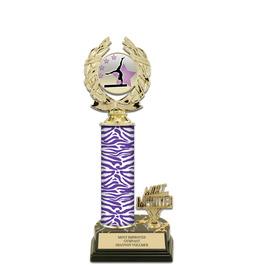 "12"" Black HS Base Gymnastics, Cheer & Dance Award Trophy w/ Trim & Insert Top"