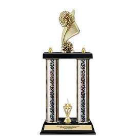 "15"" Black Finished Gymnastics, Cheer & Dance Award Trophy w/ Trim"