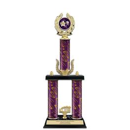"20"" Black Finished Gymnastics, Cheer & Dance Award Trophy w/ Trim & Insert Top"