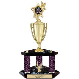 "20"" Black Finished Gymnastics, Cheer & Dance Award Trophy w/ Loving Cup, Trim & Insert Top"