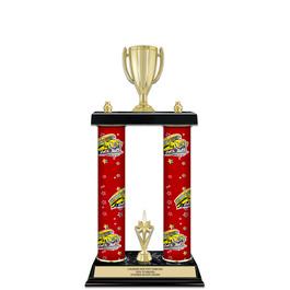 """15"""" Black Finished Gymnastics, Cheer & Dance Award Trophy w/ Custom Column & Trim"""