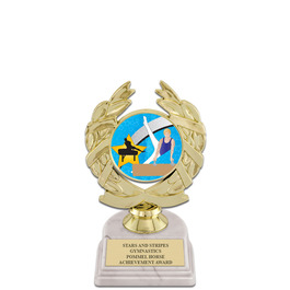 "5-1/2"" White HS Base Gymnastics, Cheer & Dance Award Trophy w Insert Top"