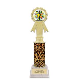 "10"" White HS Base Gymnastics, Cheer & Dance Award Trophy w/ Insert Top"