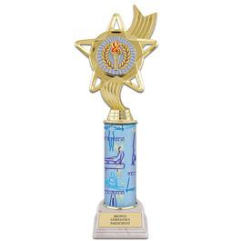 "11"" White HS Base Gymnastics, Cheer & Dance Award Trophy w/ Insert Top"
